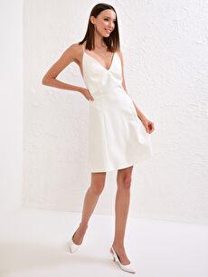Appleline Save The Date Sırtı Çapraz Detaylı Dokulu Kumaştan Mini Elbise