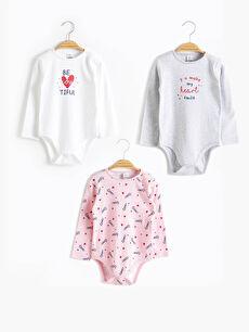 Kız Bebek Çıtçıtlı Body 3'lü