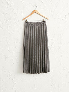 Suede Pleated Maxi Skirt