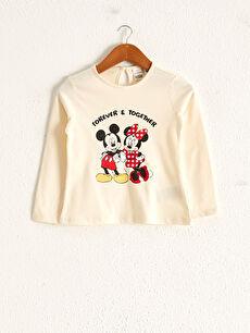 Kız Bebek Minnie Ve Mickey Mouse Baskılı Tişört