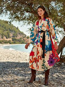Oopscool X Lcwaikiki Çiçek Desenli Kemerli Uzun Kimono