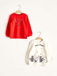 Kız Bebek Baskılı Sweatshirt 2'li