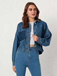 Sökük Cep Detaylı Jean Ceket