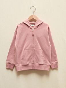 Kız Çocuk Organik Pamuklu Fermuarlı Kapüşonlu Sweatshirt