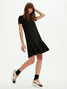 Düz Volanlı Elbise