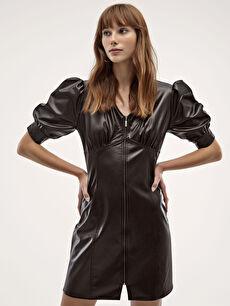Deri Görünümlü Önü Fermuarlı Elbise