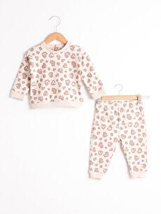 Kız Bebek Desenli Sweatshirt Ve Pantolon