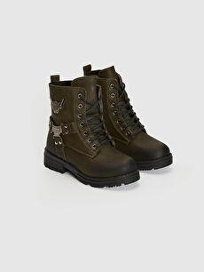 MP ONE Çocuk Bağcıklı Haki Bot Ayakkabı