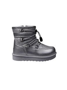 MP ONE Çocuk Fermuarlı Gümüş Bot Ayakkabı