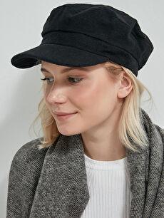 AXESOIRE Kaşe Siyah Siperli Şapka