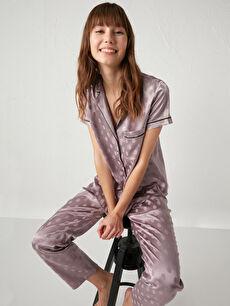 Puantiyeli Saten Pijama Takımı