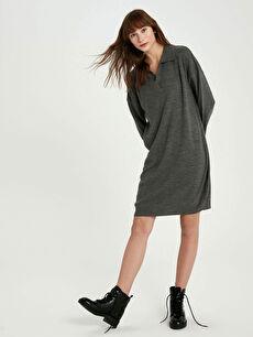 V Yaka Akrilik Triko Elbise