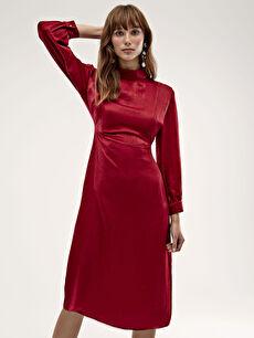 Dik Yaka İşıltılı Uzun Saten Elbise