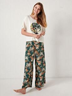 Çiçek Baskılı Pamuklu Pijama Takımı