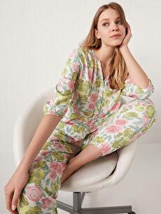 Çiçek Desenli Viskon Pijama Takımı