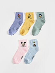 Disney Baskılı Soket Çorap 5'Li