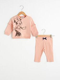 Kız Bebek Organik Pamuklu Minnie Mouse Baskılı Sweatshirt ve Tayt