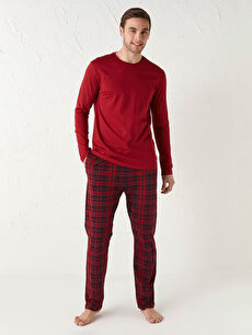 Standart Kalıp Ekose Pamuklu Erkek Pijama Takımı
