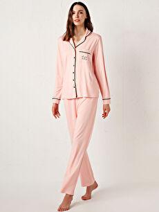 Gömlek Yaka Viskon Pijama Takımı