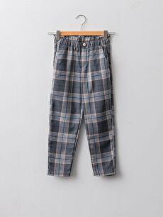 Elastic Waist Plaid Gabardine Girl Trousers
