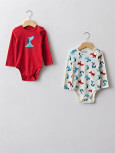 Crew Neck Long Sleeve Printed Cotton Baby Boy Body With Snap Fastener 2 Pieces
