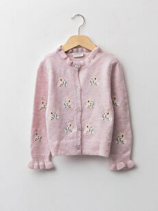 Crew Neck Embroidered Long Sleeve Girls' Knitwear Cardigan