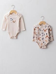 Crew Neck Long Sleeve Printed Baby Boy Snap Fastener Body 2 Pack