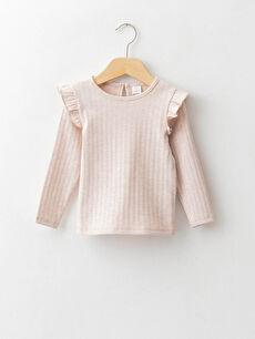 Базовая футболка с круглым вырезом и длинными рукавами для малышей-девочек