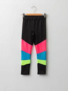 Elastic Waist Color Block Girl Long Leggings