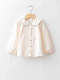 Bebe Collar Long Sleeve Embroidery Detailed Velvet Baby Girl Shirt