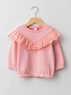 Crew Neck Long Sleeve Frill Detailed Baby Girl Sweatshirt