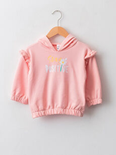 Hooded Long Sleeve Printed Baby Girl Sweatshirt