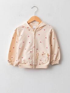 Hooded Long Sleeve Patterned Cotton Baby Girl Zipper Sweatshirt