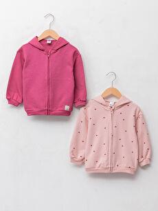 Baby Girl Hooded Long Sleeve Zippered Sweatshirt 2 Pieces