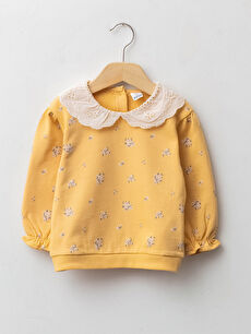 Baby Collar Long Sleeve Patterned Baby Girl Sweatshirt