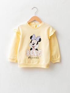 Crew Neck Long Sleeve Minnie Mouse Printed Cotton Baby Girl Sweatshirt