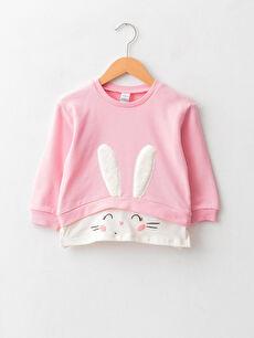 Crew Neck Long Sleeve Printed Cotton Baby Girl Sweatshirt