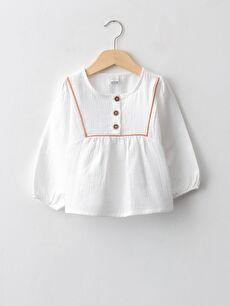 Crew Neck Long Sleeve Cotton Muslin Baby Girl Blouse