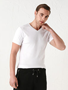 V Yaka Kısa Kollu Basic Erkek Tişört