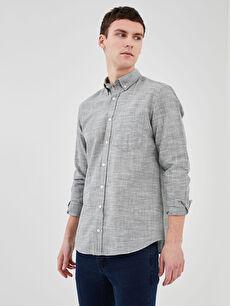 LCW BASIC Regular Fit Uzun Kollu Keten Karışımlı Erkek Gömlek
