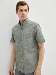 Regular Fit Kısa Kollu Poplin Erkek Gömlek