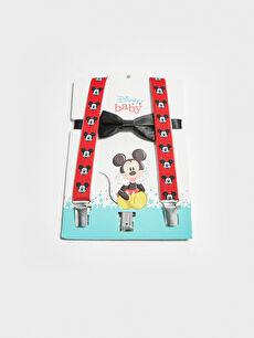 Erkek Bebek Mickey Mouse Baskılı Pantolon Askısı ve Papyon