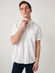 Regular Fit Kısa Kollu Armürlü Erkek Gömlek