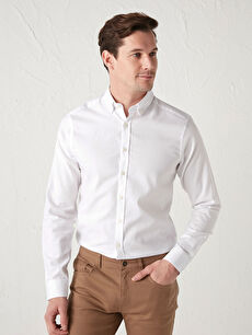 Slim Fit Uzun Kollu Oxford Erkek Gömlek