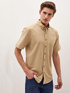 LCW BASIC Regular Fit Kısa Kollu Poplin Erkek Gömlek