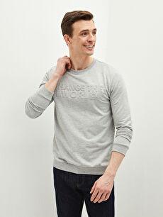 LCW CLASSIC Crew Neck Printed Thin Sweatshirt