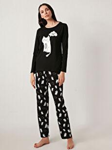 Baskılı Pamuklu Pijama Takımı
