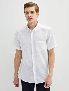 LCW CLASSIC Slim Fit Short Sleeve Poplin Men Shirt