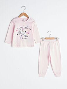 Bisiklet Yaka Uzun Kol Baskılı Pamuklu Kız Bebek Pijama Takımı