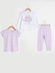Bisiklet Yaka Pamuklu Baskılı Kız Bebek Pijama Takımı 3'lü
